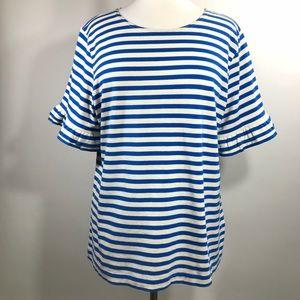 J Crew Peplum Ruffle-Sleeve Blouse Top T-Shirt